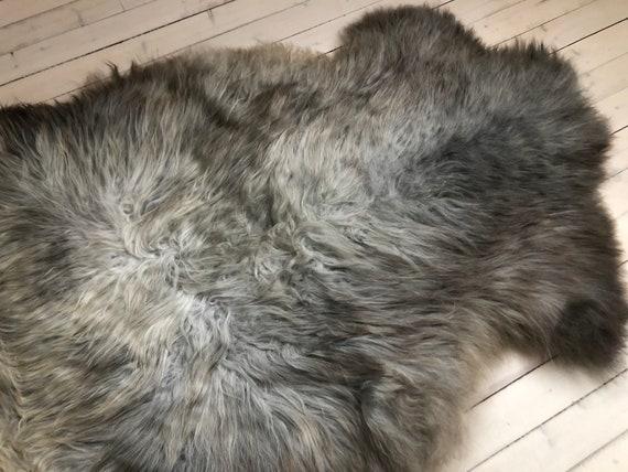 Silky soft sheepskin grey pelt interior rug supersoft Norwegian sheep throw 21076