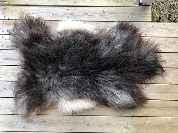 Norse Sheepskin natural rug supersoft pelt rugged throw from Norwegian breed small sheep skin brown grey white  21129