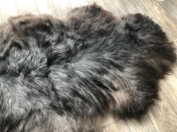 Silky soft sheepskin grey brown pelt large interior rug supersoft Norwegian sheep throw 21083
