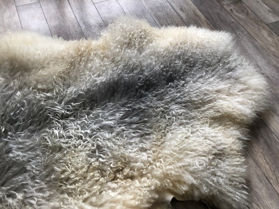 long haired pelt curly sheepskin rug supersoft Norwegian sheep throw grey yellow 21055