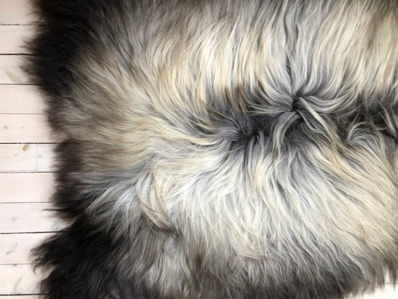 Norse Sheepskin natural rug supersoft pelt rugged throw from Norwegian breed small sheep skin grey brown yellow 21067