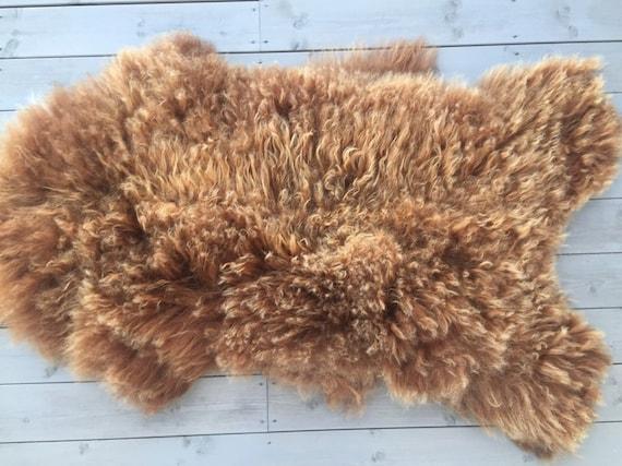 Large Sheepskin rug soft, volumous throw natural sheep skin Norwegian pelt 19128