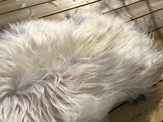 Small sheepskin shiny rug supersoft pelt rugged throw from Norwegian norse breed medium locke length sheep skin white brown 20038