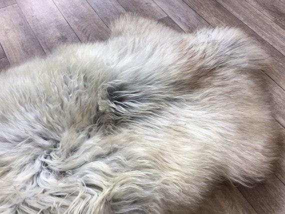 Long haired Sheepskin natural rug supersoft pelt rugged throw from Norwegian breed sheep skin grey brown yellow 19053