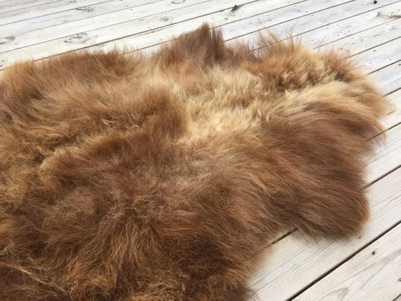 Large brown Sheepskin rug soft, volumous throw natural sheep skin long haired Norwegian pelt 18167