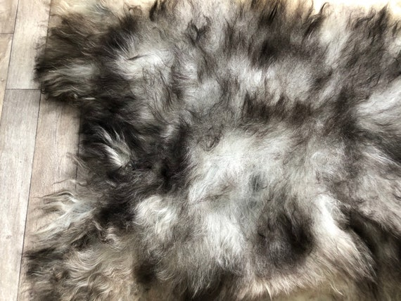 XL pelt Long haired Sheepskin natural rug supersoft pelt rugged throw from Norwegian breed sheep skin grey brown 21060