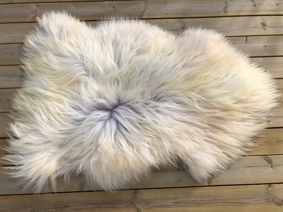 Sheepskin rug supersoft pelt rugged throw from Norwegian spael breed long haired sheep skin yellow brown grey 20044