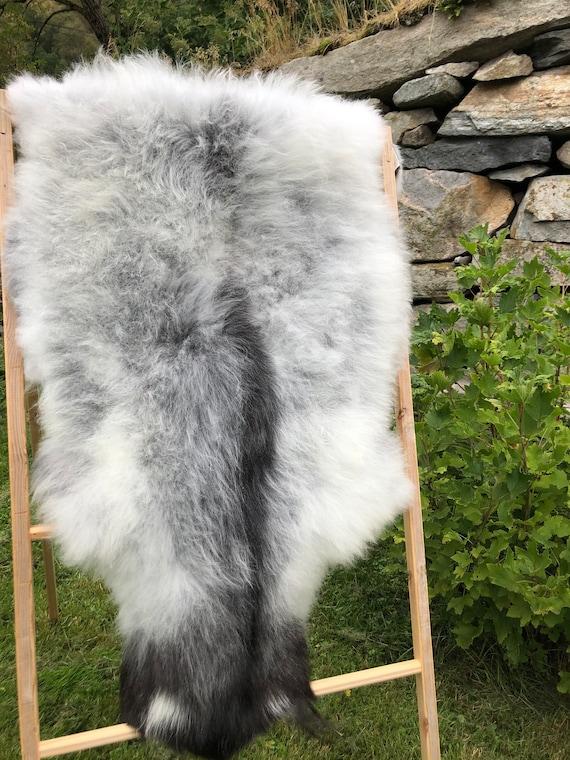 Rare Sheepskin natural rug supersoft pelt rugged throw from Norwegian breed sheep skin grey brown 21215
