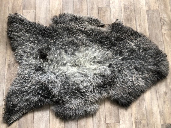Large long haired pelt curly sheepskin rug supersoft Norwegian sheep throw grey brown 21054