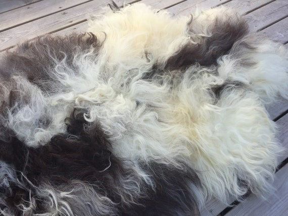 Lush sheepskin soft throw real sheep skin Norwegian pelt natural grey black white yellow 18117