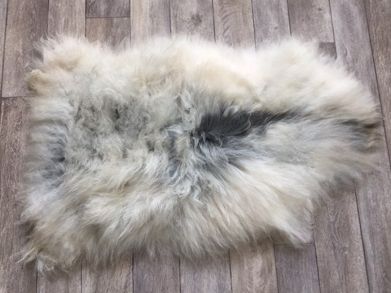 Genuine Sheepskin natural rug supersoft pelt rugged throw from Norwegian breed sheep skin grey black 19087