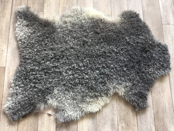 Supersoft sheepskin exclusive rug beautiful Norwegian pelt sheep skin curly grey throw 19015