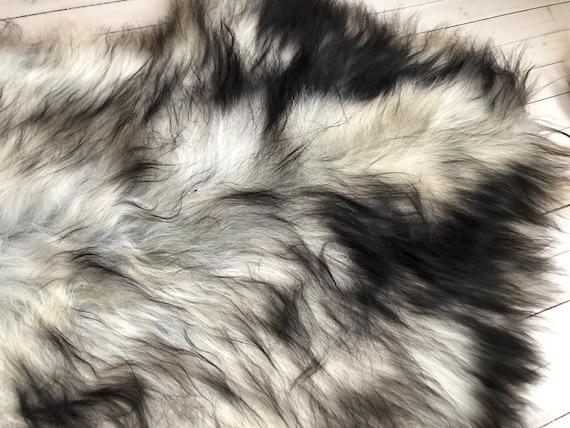 Lush pelt Long haired Sheepskin natural rug supersoft pelt rugged throw from Norwegian breed sheep skin grey brown 21063