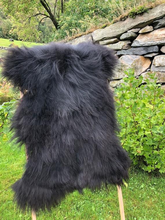 long haired pelt sheepskin rug spael sheep throw black 21235