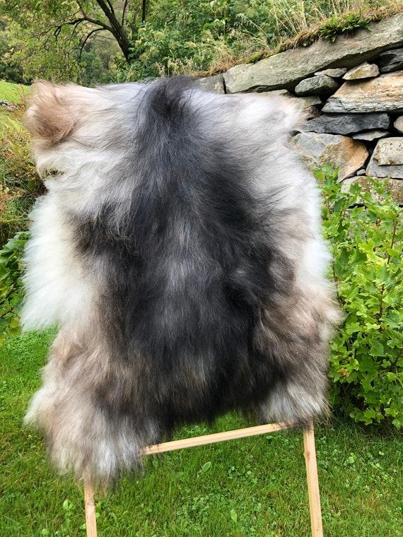 long haired pelt sheepskin rug spael sheep throw grey brown 21224