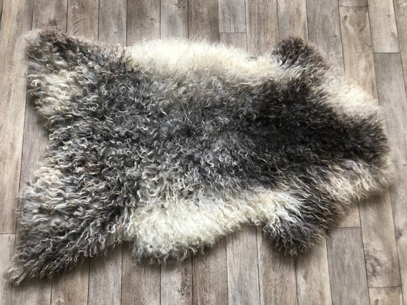 long haired pelt curly sheepskin rug supersoft Norwegian sheep throw grey white - 21048