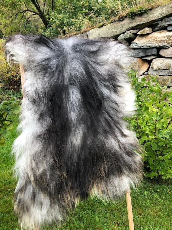 XL long haired pelt sheepskin rug spael sheep throw grey brown 21228