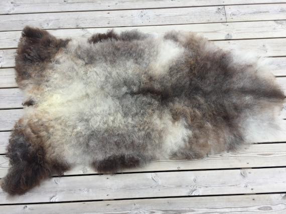 Stunning Norwegian sheepskin high quality rug supersoft pelt rugged throw from Norwegian norse short fleece sheep skin brown grey 18122