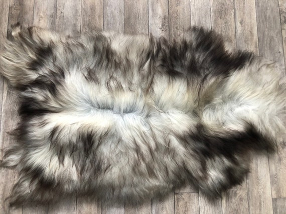 Lush pelt Long haired Sheepskin natural rug supersoft pelt rugged throw from Norwegian breed sheep skin grey brown 21081