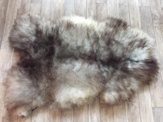 Long haired Sheepskin rug soft, volumous throw natural sheep skin Norwegian pelt 19161