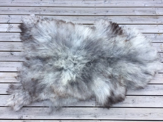 Long haired sheepskin rug spael sheep throw pelt grey gray brown 19066