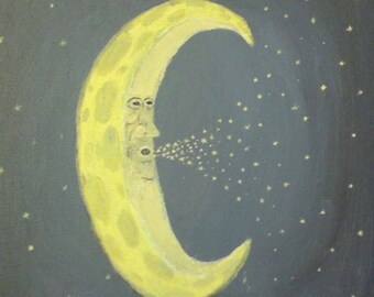 """Moon Print (8"""" x 10"""") of """"The Old Man in the Moon""""--Original Artwork"""