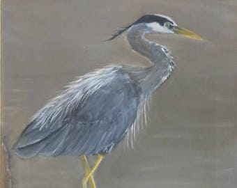 "Great Blue Heron print (8"" x 10"")--Original Wildlife Artwork (regular)"