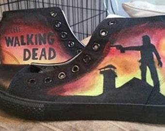 9a5806cc3437 The Walking Dead Converses Custom Converses