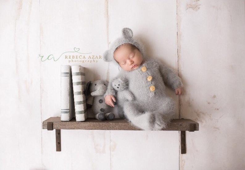 2688cc028b3 Newborn bear romper 3 Pieces set mohair knit teddy bear photo