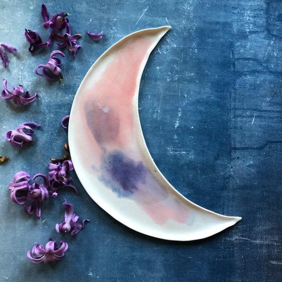 Watercolor celestial porcelain moon platter dish