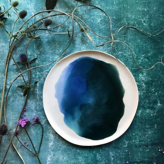 Watercolor porcelain plate