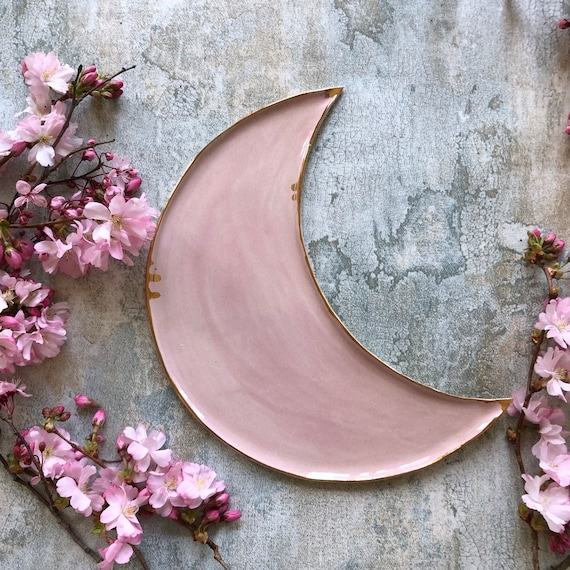 Soft pink with 23K gold handmade stoneware platter