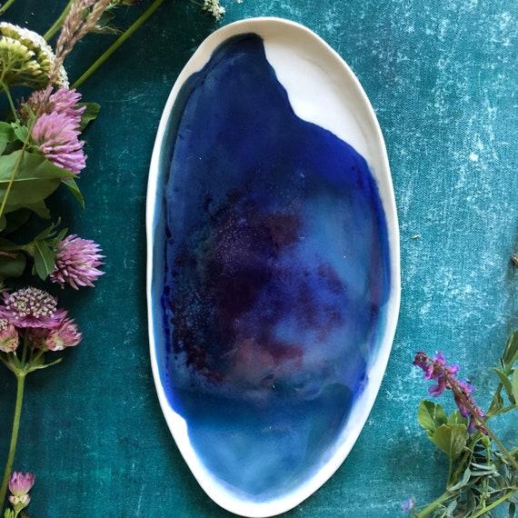 Watercolor porcelain platter handmade ceramics