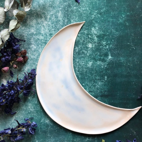 Soft pink with rose gold crystals handmade porcelain moon dish
