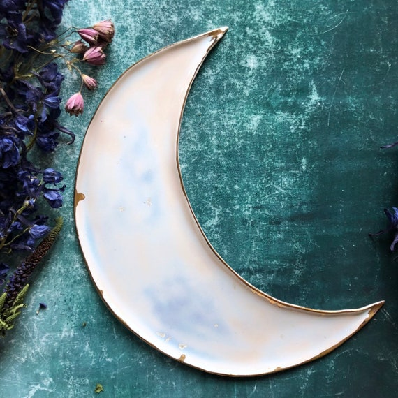 Soft pink with rose gold crystals handmade stoneware moon dish