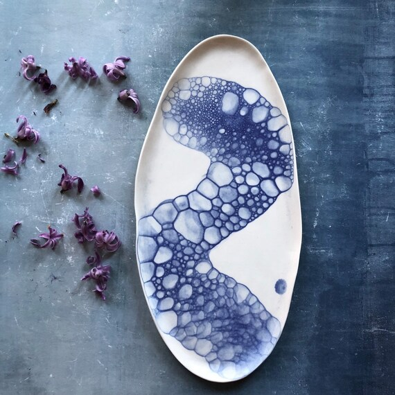 XL Mermaid series platter porcelain platter handmade ceramics Danish design