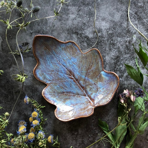 Stoneware leaf bowl handmade ceramics