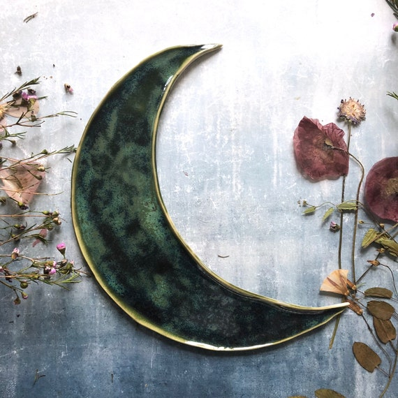 Large moon celestial stoneware moon platter dish