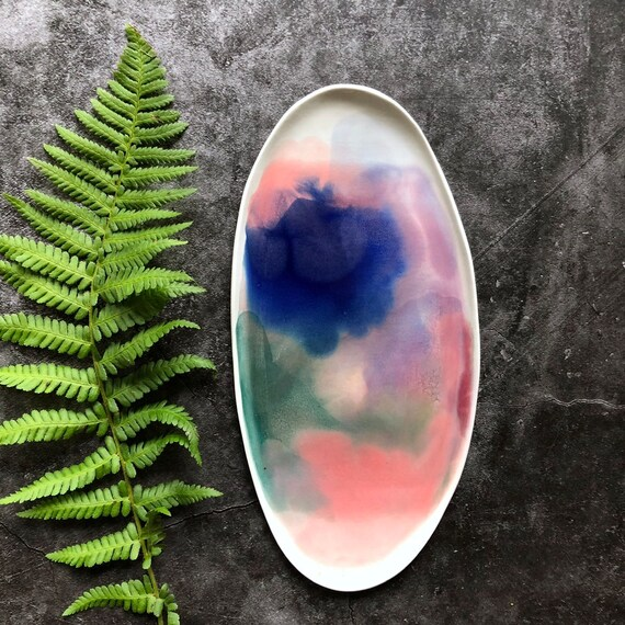 Watercolor series  porcelain platter