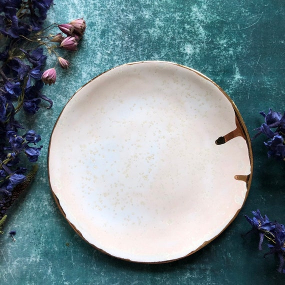 Soft pink with rose gold crystals handmade stoneware plate