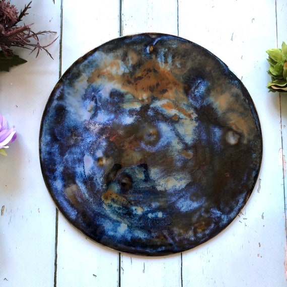 Galaxy planet moon wall hanging stoneware ceramic universe