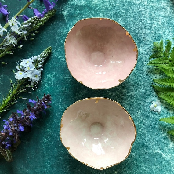 Pair of small bowls with 23K rim