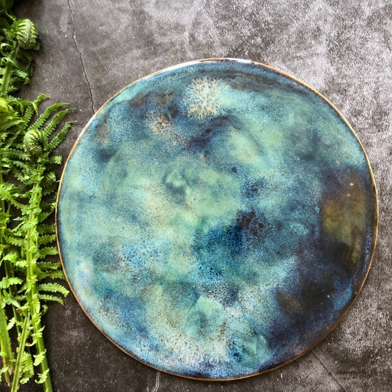 Galaxy planet moon wall hanging stoneware ceramic universe