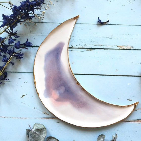 Watercolor porcelain moon dish