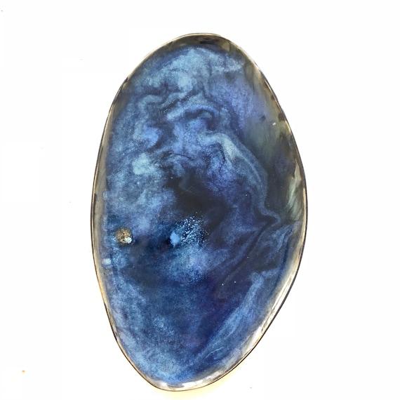 Deep blue stoneware platter