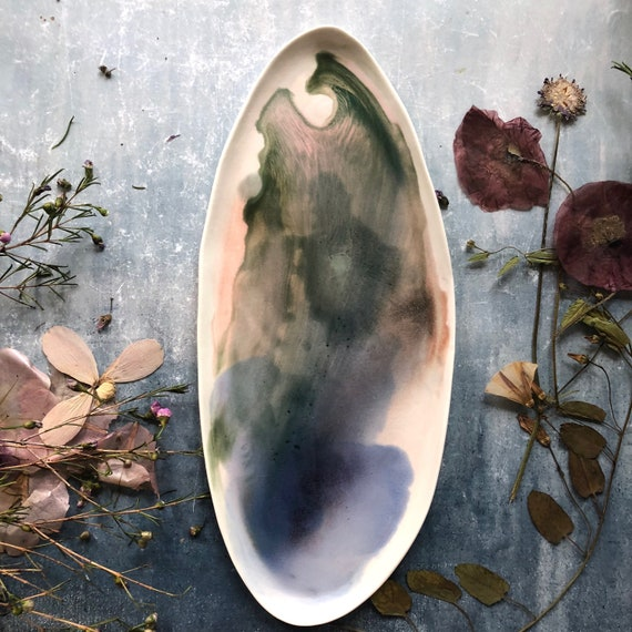 Watercolor pink blue green porcelain platter handmade ceramics