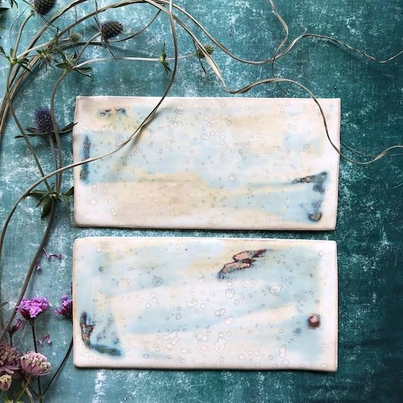 Pair of Handmade ceramic Plate Cheese Board Danish Design