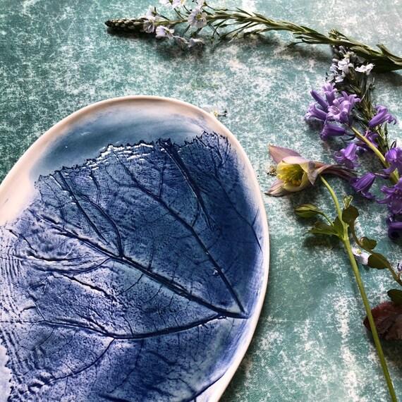 Porcelain botanic platter handmade ceramics