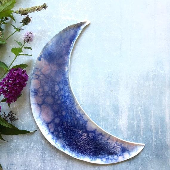 Blue Mermaid series celestial stoneware moon platter dish