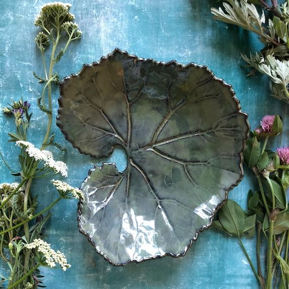 Stoneware leaf platter handmade ceramics